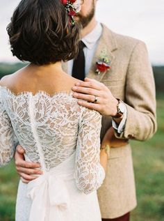 this beautiful lace gown + short hair combination is winning us over Ballroom Wedding Dresses, Floral Wedding Gown, Pink Wedding Dresses, Wedding Dresses Photos, Wedding Gowns, Bridesmaid Dresses, Bridal Lace, Bridal Gown, Wedding Ceremony