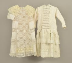 Girl's dresses, cotton and silk, no location available, 1870-1880