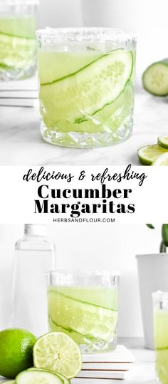 This refreshing Cucumber Margarita on the rocks is so delicious and so easy to make with only a handful of ingredients! Whether you are making one or a whole pitcher, this cocktail is sure to be a hit! #cocktails #tequila #cincodemayo Best Summer Cocktails, Healthy Cocktails, Best Cocktail Recipes, Healthy Summer Recipes, Spring Recipes, Delicious Recipes, Cucumber Margarita, Margarita Recipes, Cider Cocktails
