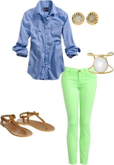 denim button-down + neon skinnies.#Repin By:Pinterest++ for iPad#