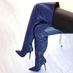 Sexy Boots, Cool Boots, Leather High Heel Boots, Heeled Boots, Womens Thigh High Boots, Purple Heels, Thigh High Boots Heels, Stockings Heels, Spike Heels