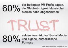 Vertrauen in klassische Medien sinkt. /PR-Journal. Trend: Eigene Plattformen, direkte Interaktion. #Content #Marketing