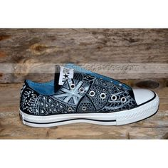 Hand-painted Zentangle Painted Canvas Shoes,Low-top Painted Canvas Shoes