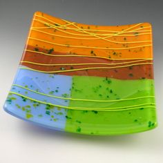 Colorful Square Fused Gl Sushi Plate Dish In By Beadbijoux
