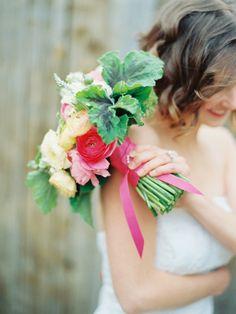 Gorgeous bouquet with geranium leaves.