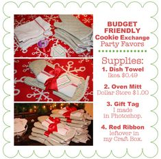 Budget Friendly Christmas Party Favors or Prizes ~ I got the red oven mitts @$ Tree; the dish towels are 49 cents @Ikea.