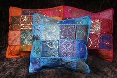 Patchwork Kisenbezug Kissenhülle vintage Sari Indien 40 x 40 ethno Dekokissen | eBay