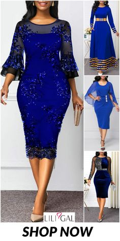 Party Pretty Sheath Dress For Women 2019 - Damenmode Blue Dress Outfits, Blue Dresses, Casual Dresses, Casual Outfits, Maxi Outfits, Yellow Dress, Long Dress Fashion, Latest African Fashion Dresses, Women's Fashion Dresses