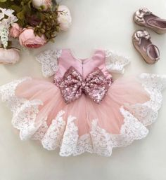 On Sale! Cheap Sequin Bow Baby Girl Tutu Dress - Ready to Ship in 3-5 Business Days Pink Knee Length Lace Sequin Embroidered Baby Girl Party Dress  Material: Embroidered tulle, Sequin, Soft Polyester fiber, Cotton Available from 6 months - 6 years
