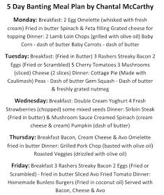 For The Love Of Banting: 5 Day Banting Meal Plan - by Chantal McCarthy Green List Banting, Flat Tummy Foods, Fried Butter, 5 Day Meal Plan, Lamb Loin Chops, Banting Diet, Battered Fish, Fresh Cream, Baby Carrots