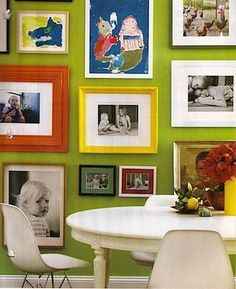 love the mix of art and photographs. don't know if i could do that lime green color-