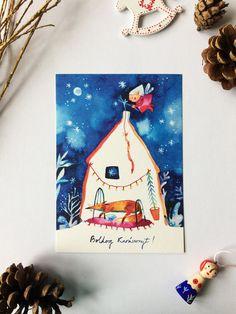 Christmas greeting card with fox and angel size original art print Christmas Greeting Cards, Christmas Greetings, Christmas Ideas, Christmas Bulbs, Blue Birthday, A5, Original Art, Angel, Animation