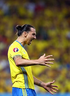 #EURO2016 NICE, FRANCE - JUNE 22: Zlatan Ibrahimovic of Sweden reacts during the UEFA EURO 2016 Group E match between Sweden and Belgium at Allianz Riviera Stadium on June 22, 2016 in Nice, France.