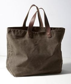 considering it but straps seem too short - Signature Waxed-Canvas Tote: Bags Waxed Canvas Bag, Canvas Leather, Canvas Tote Bags, Canvas Totes, Leather Bags, Leather Backpacks, Brown Canvas, Leather Wallets, Replica Handbags