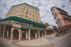Downtown Eureka Springs Flatiron Building & the 1905 Basin Park Hotel