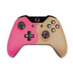 Custom Xbox One Controller  Wireless Glossy  Half-Heather Violet-And-Half-Grey Beige
