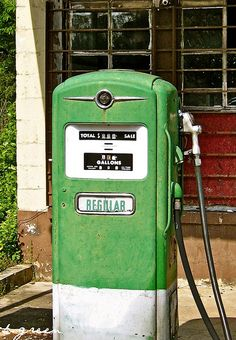 Old gas pump!  We could afford gas in the 50's.  Everybody would pitch in 25 cents each, and when we got a dollar, we gassed up, and then went everywhere.