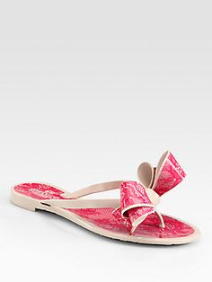 Valentino Lace-Print Bow Jelly Thong Sandals