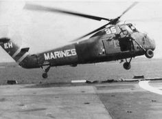 A USMC Medevac Chopper starts to lose control off the deck of the USS Repose