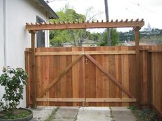12'W DRIVEWAY GATES with ARBOR TOP HEADER: Western Red Cedar ...
