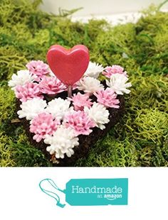 Miniature heart shaped flower bed. Fairy garden, dollhouse accessories, terrarium decor. Pink and white. Valentines Day miniature. from Puppy Love Miniature http://www.amazon.com/dp/B01AEW8AKU/ref=hnd_sw_r_pi_dp_DCNKwb0V5A549 #handmadeatamazon