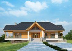 Projekt domu LK&1116 Modern Bungalow House, Cottage Style House Plans, Modern House Design, Rustic Houses Exterior, Home Fashion, Sweet Home, Villa, Farmhouse, Mansions