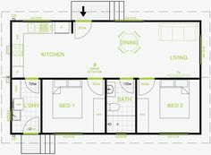granny flat plan 60 square meters - Google Search