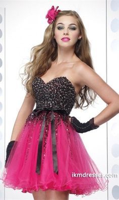 http://www.ikmdresses.com/2014-Homecoming-Dresses-A-Line-Black-Bodice-Hot-Pink-Skirt-Organza-With-Sash-p83835
