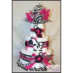 diaper cake, zebra | Zebra Diaper Cake - Creations By Irene