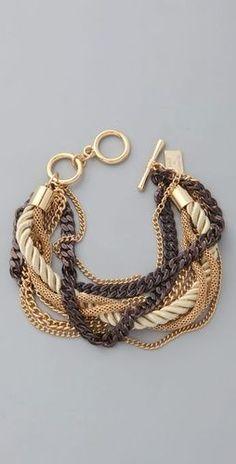 Juliet and Company, Gold Cognac Chains Bracelet