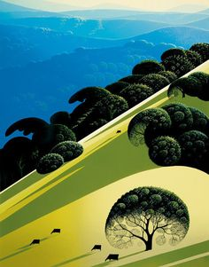 Summer - Eyvind Earle - Eyvind Earle was an American artist, author and illustrator, noted for his contribution to the background illustration and styling of Disney animated films in the Born: April New York City Died: July 2000 - - Art Painting, Landscape Paintings, Illustrations And Posters, Eyvind Earle, Illustration, Serigraph, Visual Art, Landscape Art, American Artists