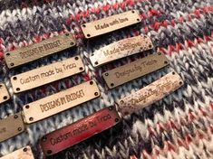 SMALL RECTANGLE TEXTILE TAGS  ABOUT ✦ These hem tags are made out of 100% recycled leather ✦ These are intended to lay flat ✦ We make them 100% from scratch in our shop ✦ They are about 1.3 inches wide and .3 inches tall ✦ This is a pack of FIFTEEN (15)  CARE AND HANDLING ✦ They are safe