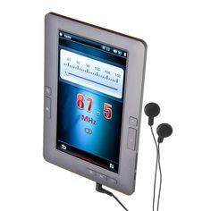 eBook LO+DEMODA de 4GB, con pantalla TFT de 7 pulgadas, en color gris. Reproduce varios formatos de audio: MP3, WMA, WAV, FLAC, APE, OGG, AAC y dispone de función de sintonizador de radio de FM.