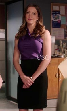 Arrow Style and Fashion: Katie Cassidy as Laurel Lance wore the Elie Tahari Ezra Cowl-Neck Blouse an Katie Pencil Skirt on Episode 1x02 - Honor Thy Father of Arrow