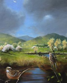 Gail Boyajian, White Throated Sparrow with Spring Landscape
