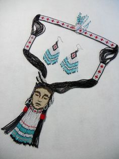 Woven beadwork is distinguished from strands in necklaces and bracelets. Woven beads are oriented in rows of beads placed side by side, not end to end; the result being a wide strip of beads with a geometric design. http://bit.ly/12dELvQ [Photo courtesy of www.choctawkeith.com]