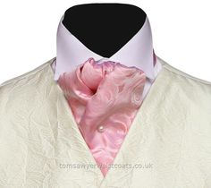 Neckwear : Cravats (Self-tie) : Pink Rose Pattern Silk Self-tie Wedding Cravat