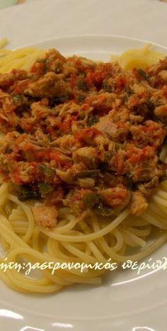 Μακαρονάδα με σάλτσα τόνου - cretangastronomy.gr Pasta Noodles, Food Styling, Lasagna, Risotto, Spaghetti, Deserts, Food And Drink, Pizza, Vegetarian