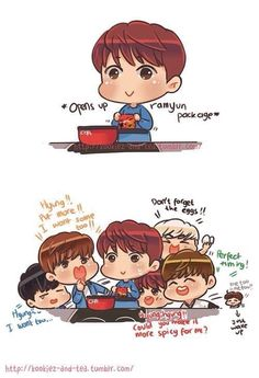 heheheh fan art of BTS and their food problems. ;P