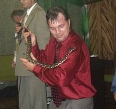 Serpent-handling pastor Mack Randall Wolford, died in Matoaka, West Virginia, after being bitten by a rattlesnake – nearly 30 years after his father died the same way. Wolford, Crazy People, Movie Stars, The Help, Leather Jacket, Ghosts, Snake, Fashion, Pastor