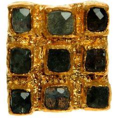 Sara Divita Labradorite square ring ($889) ❤ liked on Polyvore