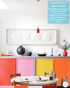 For when we move into our falling down shack! // What a smart idea to paint kitchen cabinets different colors. My imagination is running wild.  (Bright.Bazaar: Colour Palette: // Photography by Jean-Marc Wullschleger )