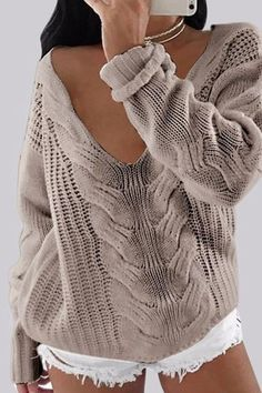 Looking for the latest trends Street Style Blouses & Shirts? discount that you really do not want to miss , Plain V-Neck Long Sleeves Causal Loose Sweater , Sweaters for Women Source by ebuytidecom Knit Fashion, Sweater Fashion, Fashion Outfits, Fashion Shoes, Loose Sweater, Long Sleeve Sweater, Ladies Tops Patterns, Spring Fashion Casual, Fashion Fall