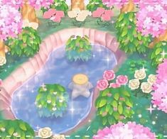 Image shared by G O D. Find images and videos about bts, flowers and kawaii on We Heart It - the app to get lost in what you love. Animal Crossing 3ds, Animal Crossing Pocket Camp, Motif Acnl, Ac New Leaf, Pink Aesthetic, Aesthetic Pictures, Wall Collage, Pond, Sanrio