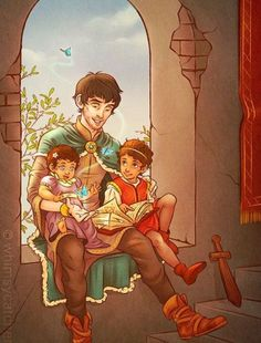 By whimsycatcher - fan art of Merlin as Court Sorcerer, sitting with Arthur and Gwen's kids. THE SHEER CUTENESS!-----But wait.<<< ok wait there's a literal deathly hallows in the book what is this tales of beedle the bard Colin Morgan, Merlin And Arthur, King Arthur, Merlin Fandom, Merlin Merlin, Merlin Memes, Merlin Funny, Merlin Gwen, Bbc