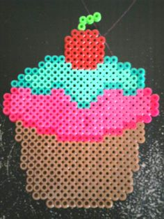 Cherry Cupcake Perler Bead by iloverexraptor on deviantart