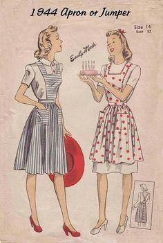 1940s pinafore dress pattern - need big pockets