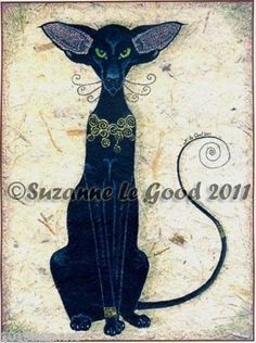 LARGE-LTD-ED-ORIENTAL-BLACK-CAT-PRINT-FROM-ORIGINAL-PAINTING-SUZANNE-LE-GOOD
