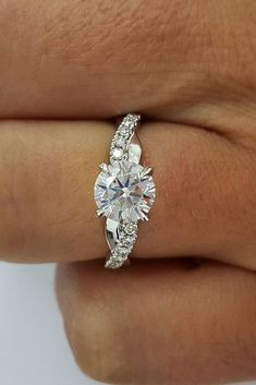 36 Simple Engagement Rings For Girls Who Love Classic Style ❤️ simple engagement rings round cut diamond white gold ❤️ See more: http://www.weddingforward.com/simple-engagement-rings/ #weddingforward #wedding #bride