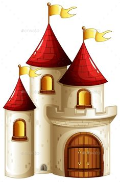 Buy Castle by interactimages on GraphicRiver. Illustration of a castle with yellow banners on a white background Castle Illustration, Castle Drawing, Building Icon, Brick Building, Small Castles, Castle Pictures, Princess Cartoon, Princess Castle, Felt Toys